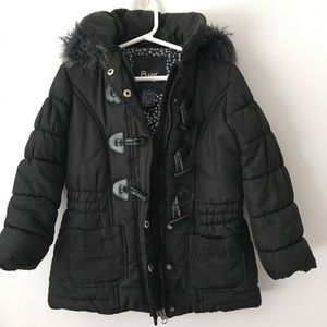 B.Hip By Me Jane Girl's Puffer Black Coat Size 4